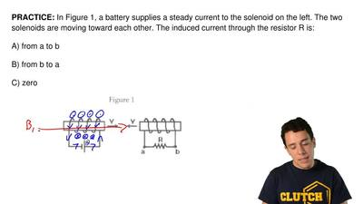 In Figure 1, a battery supplies a steady current to the solenoid on the left. ...