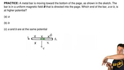 A metal bar is moving toward the bottom of the page, as shown in the sketch. T...