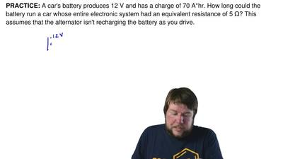 A car's battery produces 12 V and has a charge of 70 A*hr. How long could the ...