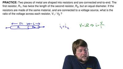 Two pieces of metal are shaped into resistors and are connected end-to-end. Th...