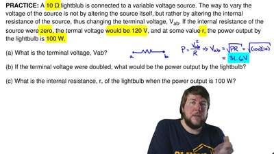 A 10 Ω lightblub is connected to a variable voltage source. The way to vary th...