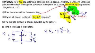 Four 4μF capacitors are connected into a square. A battery of unknown voltage ...