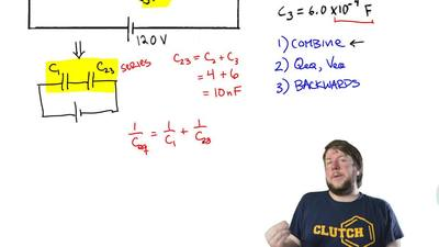 Consider the circuit shown in the sketch. When the capacitors have their final...