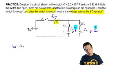 Consider the circuit shown in the sketch. C = 5.0 x 10-6 F and L = 0.30 H. Ini...