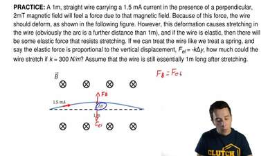 A 1m, straight wire carrying a 1.5 mA current in the presence of a perpendicul...