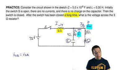 Consider the circuit shown in the sketch.C= 5.0 x 10-6F andL= 0.30 H. Ini...