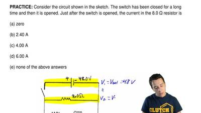 Consider the circuit shown in the sketch. The switch has been closed for a lon...