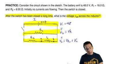 Consider the circuit shown in the sketch. The battery emf is 48.0 V,  R1 = 16....