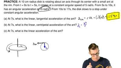 A 10 cm radius disk is rotating about an axis through its center with a small ...