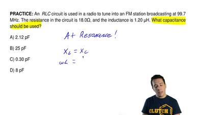An  RLC circuit is used in a radio to tune into an FM station broadcasting at ...