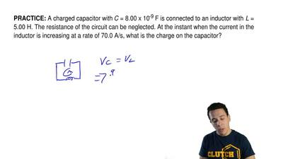 A charged capacitor withC= 8.00 x 10-9F is connected to an inductor with L...