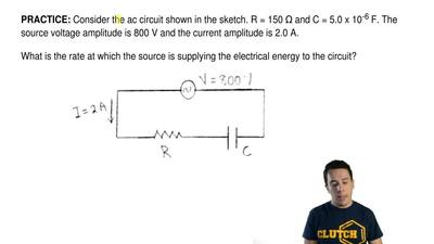 Consider the ac circuit shown in the sketch. R = 150 Ω and C = 5.0 x 10 -6F....