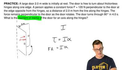 A large door 2.0 m wide is initially at rest. The door is free to turn aboutf...