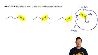 Identify the most stable and the least stable alkene ...