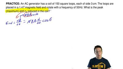 An AC generator has a coil of 150 square loops, each of side 3 cm. The loops ...