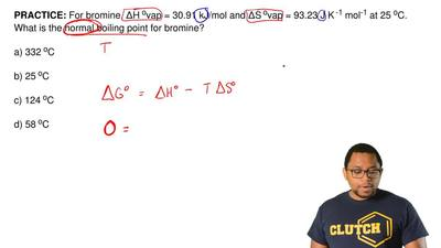 For bromine,ΔHovap = 30.91 kJ/mol andΔSovap = 93.23 J K-1mol-1at 25oC....