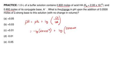 1.0-L of a buffer solution contains 0.800 moles of acid HA (K a = 2.00 x 10 -6...
