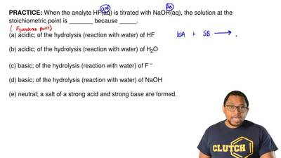 When the analyte HF(aq) is titrated with NaOH(aq), the solution at the stoichi...