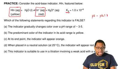 Consider the acid-base indicator, HIn, featured below:  Hln (aq) +   H2O (l) ⇌...
