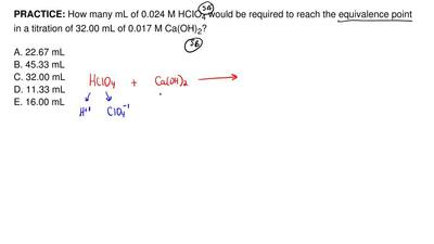 How many mL of 0.024 M HCIO 4 would be required to reach the equivalence point...