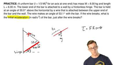 A uniform bar (I= 1/3 ML2for an axis at one end) has mass M = 8.00 kg andle...
