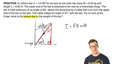 A uniform bar (I = 1/3 ML2 for an axis at one end) has mass M = 5.00 kg and le...