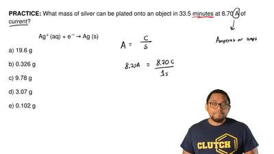 What mass of silver can be plated onto an object in 33.5 minutes at 8.70 A of ...