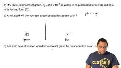 Bromocresol green, Ka = 2.0 x 10-5,is yellow in its protonated form (HX) and...