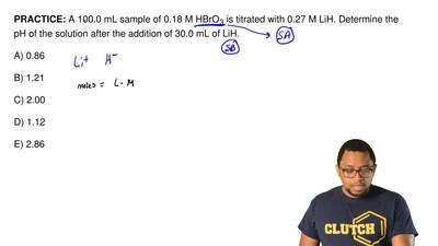 A 100.0 mL sample of 0.18 M HBrO 3 is titrated with 0.27 M LiH. Determine the ...