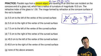 Parallel rays from a distant object are traveling in air and then are incident...