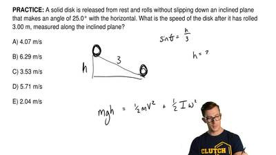 A solid disk is released from rest and rolls without slipping down an inclined...