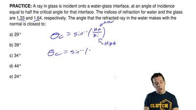 A ray in glass is incident onto a water-glass interface, at an angle of incide...