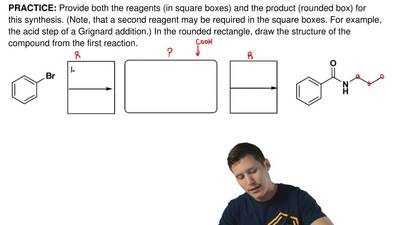 Provide both the reagents (in square boxes) and the product (rounded box) for ...