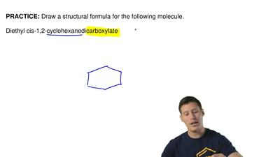 Draw a structural formula for the following molecule.  Diethyl cis-1,2-cyclohe...