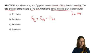 In a mixture of N 2 and O2 gases, the mol fraction of N 2 is found to be 0.700...