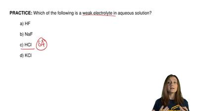 Which of the following is a weak electrolyte in aqueous solution?  a) HF  b) N...