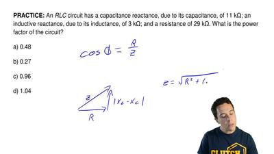 An RLC circuit has a capacitance reactance, due to its capacitance, of 11 kΩ; ...