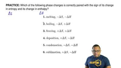 which of the following phase changes is correctly paired with the sign of its