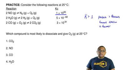 Consider the following reactions at 25°C: Reaction              ...