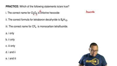 Which of the following statements is/are true?  i. The correct name for Cl2O6 ...