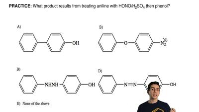 What product results from treating aniline with HONO/H 2SO4 then phenol? ...