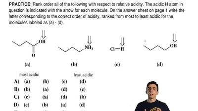 Rank order all of the following with respect to relative acidity. The acidic H...