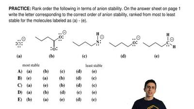 Rank order the following in terms of anion stability. On the answer sheet on p...