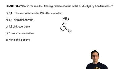 What is the result of treating  m-bromoaniline with HONO/H2SO4 then CuBr/HBr? ...