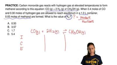 Carbon monoxide gas reacts with hydrogen gas at elevated temperatures to form ...