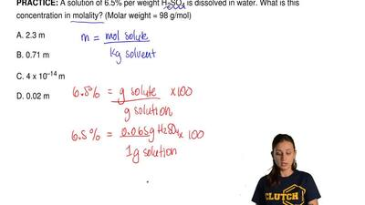 A solution of 6.5% per weight H2SO4 is dissolved in water. What is this conce...