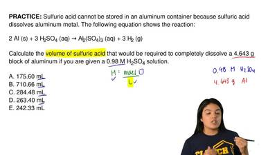 Sulfuric acid cannot be stored in an aluminum container because sulfuric acid ...