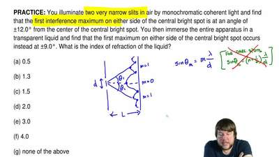 You illuminate two very narrow slits in air by monochromatic coherent light an...