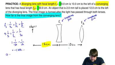 A diverging lens with focal length f1 = -20.0 cm is 10.0 cm to the left of a c...