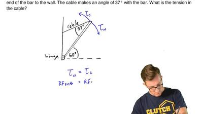 A uniform bar (I= 1/3 ML2for an axis at one end) has mass M= 5.00 kg and le...